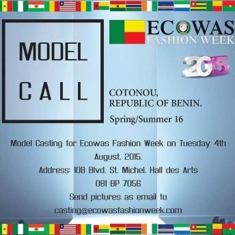 Benin: Model Casting - Ecowas Fashion Week 2015 @ Hall Des Arts | Cotonou | Littoral | Benin