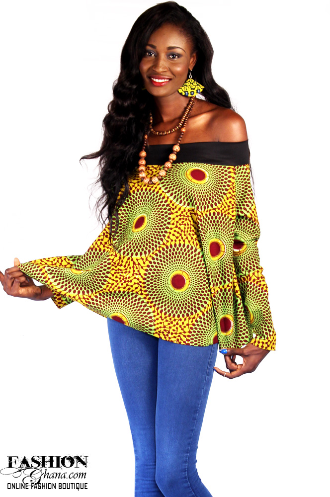 African Print Off Shoulder Top Fashionghana Com 100