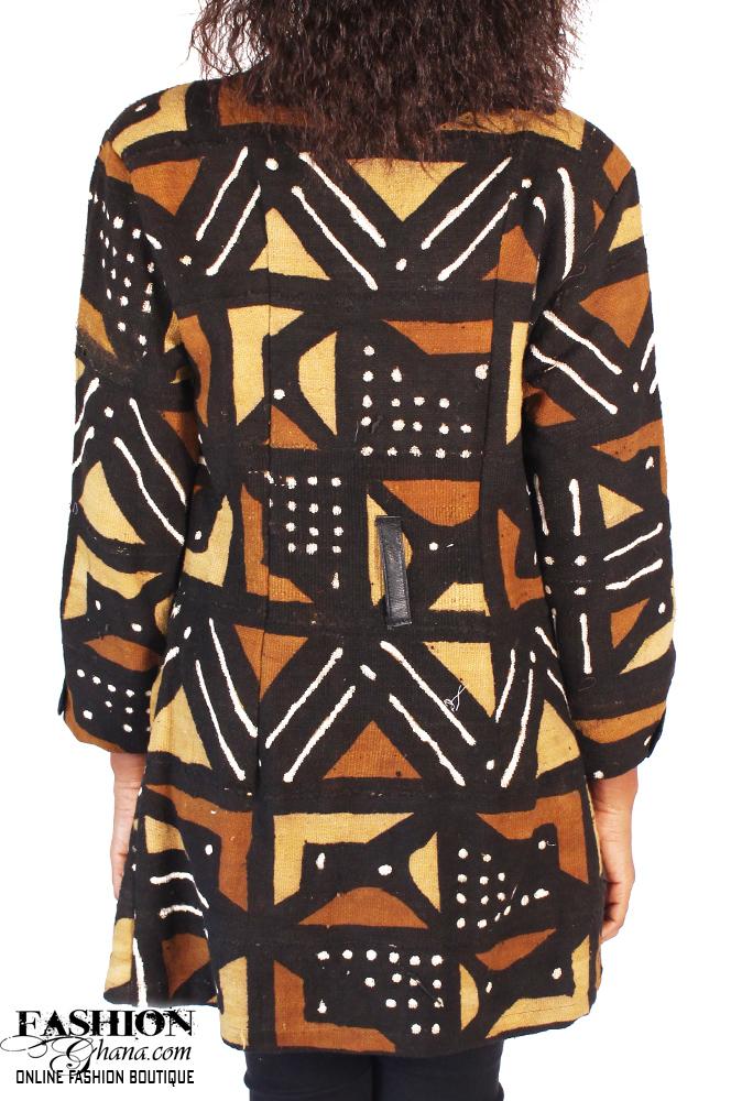 Mud Cloth Trench Coat In Midi Length Fashionghana Com