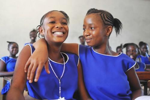 Two girls in classroom, Bo, Sierra Leone