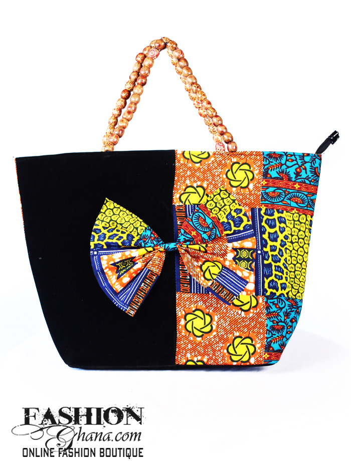 1aef72f6e913 African Print Tote Bag With Bow Tie Detail