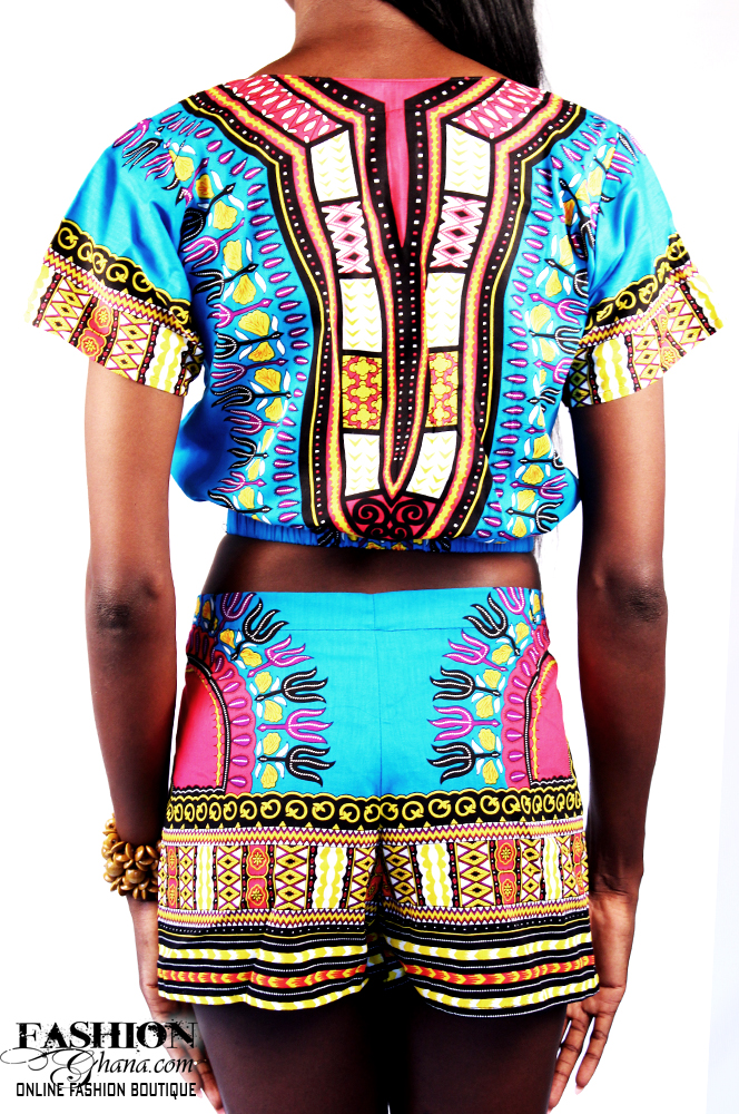 7d422b1b1 Dashiki / Angelina Print Crop Top & Shorts Outfit | FashionGHANA.com ...