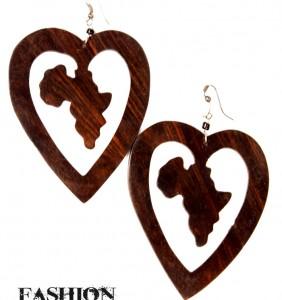 Wooden Africa In Heart Earring