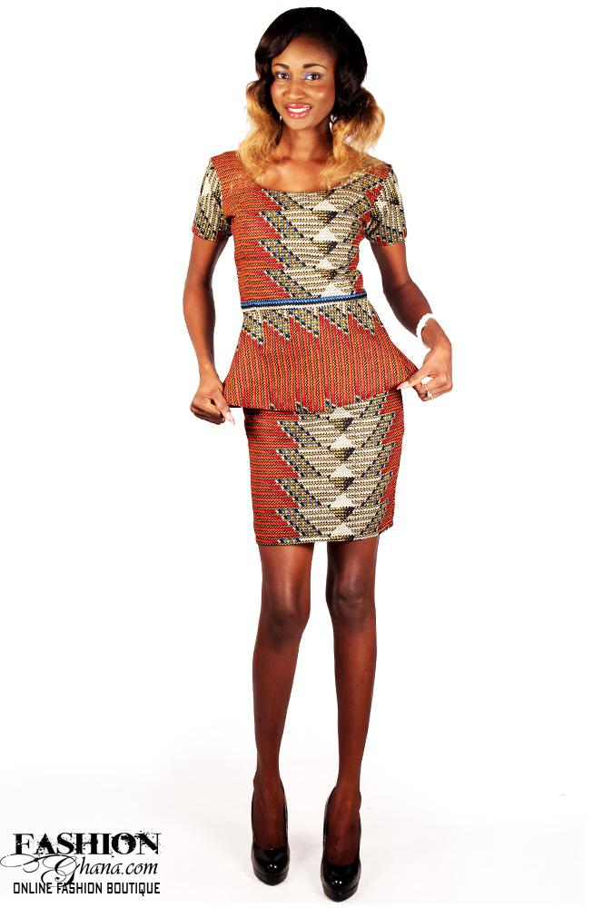 7982a709fb258a African Print Peplum Top   Pencil Skirt – FashionGHANA.com  100 ...