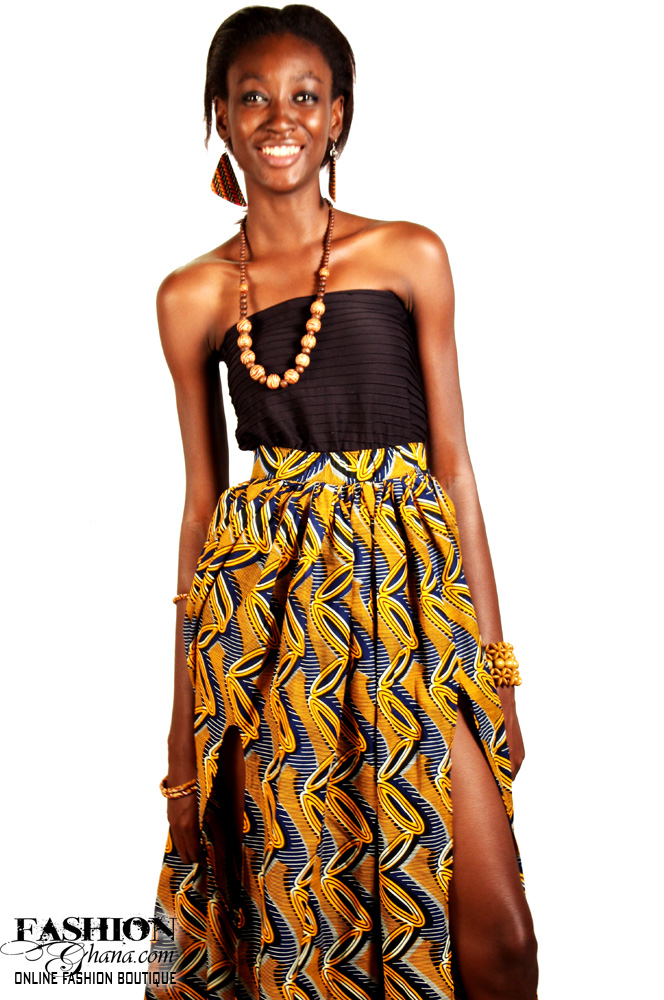 e4c41124e7 African Print Maxi Skirt With Slit Option