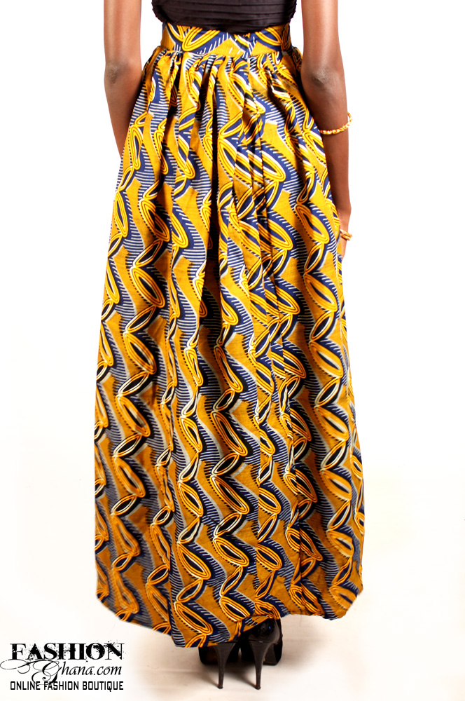 African Print Maxi Skirt With Slit Option Fashionghana