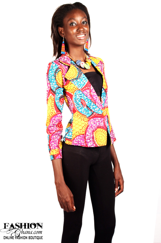 African Print Womenu2019s 3/4 Sleeve Blazer (Various Prints) | FashionGHANA.com 100% African Fashion