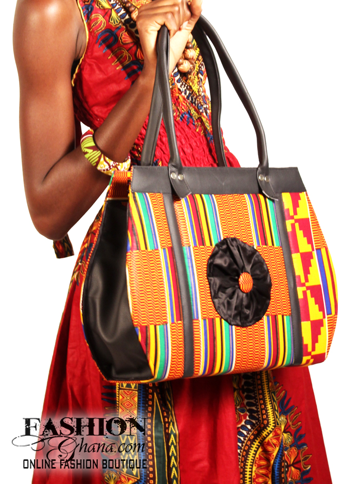 266fadffe43c African Print Tote Bag With Flower Design