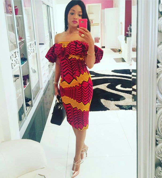 Overall Ankara print of shoulder dress! Big Yes!