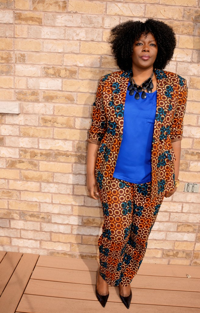Monoprint suits with plain tops and lovely jewelry! You can't go wrong.