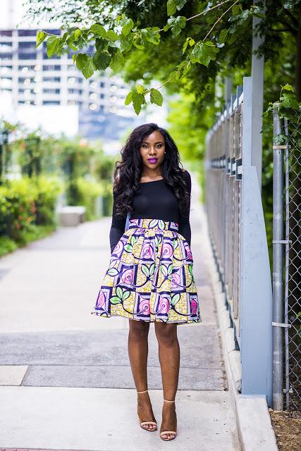 african print skater skirt (1)