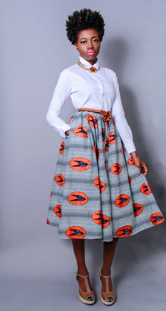 African Fashion Print Skirt With White Buttoned Shirts Is ... Pictures Of African Skirts And Blouses