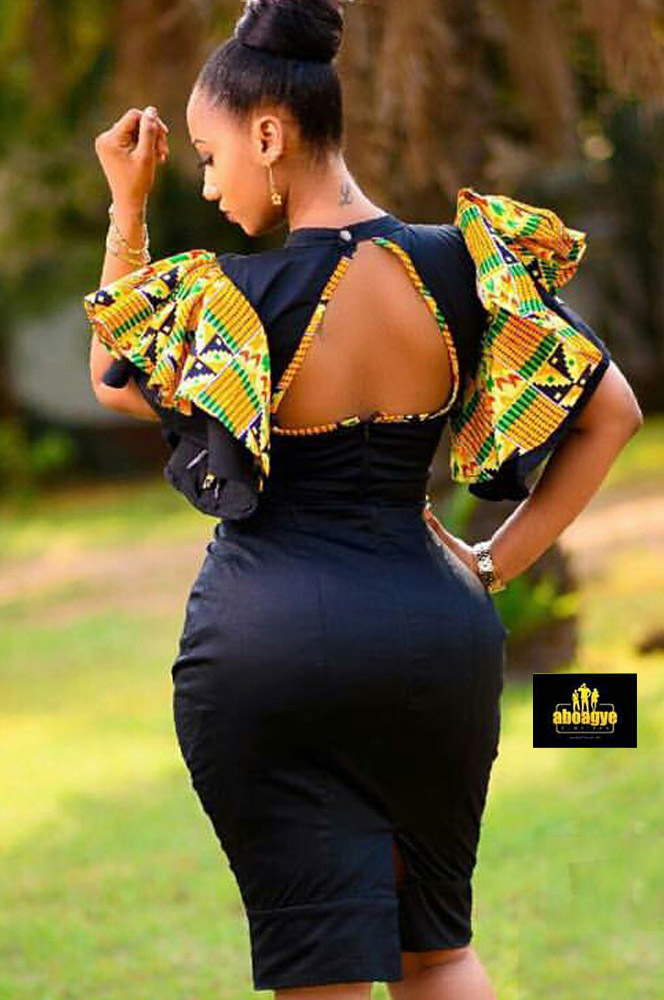 Aboagye Kente Sleeves Pencil Dress Fashionghana Com 100