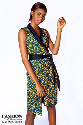 4364d88db64f0 Sleeveless African Print Wrap Dress