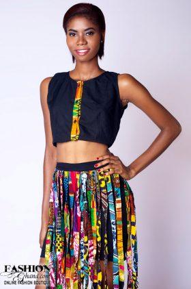 c4123014c1532 Pique Mini Skirt With Asasa Print Fringe