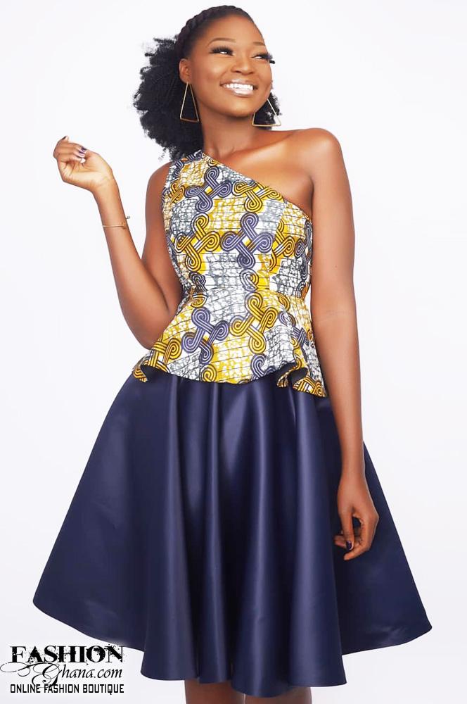 1712f389efd1f Mawube Couture One Off Shoulder Flair Skirt Dress – FashionGHANA.com ...