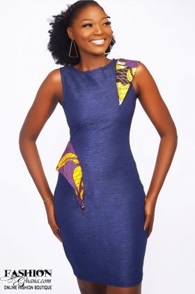 13e33063306ff Mawube Couture Jeans Pencil Dress With Print Details