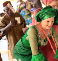 VIDEO: Watch White Women Get Money Showered By Naija Men At Daughters Wedding Whilst Dancing African