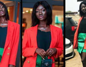 #HOTSHOTS: Fast Rising Heavily Melanated Ghanaian Model Just.Addie Serves Top Notch Office Style Wear In These Hot Shots