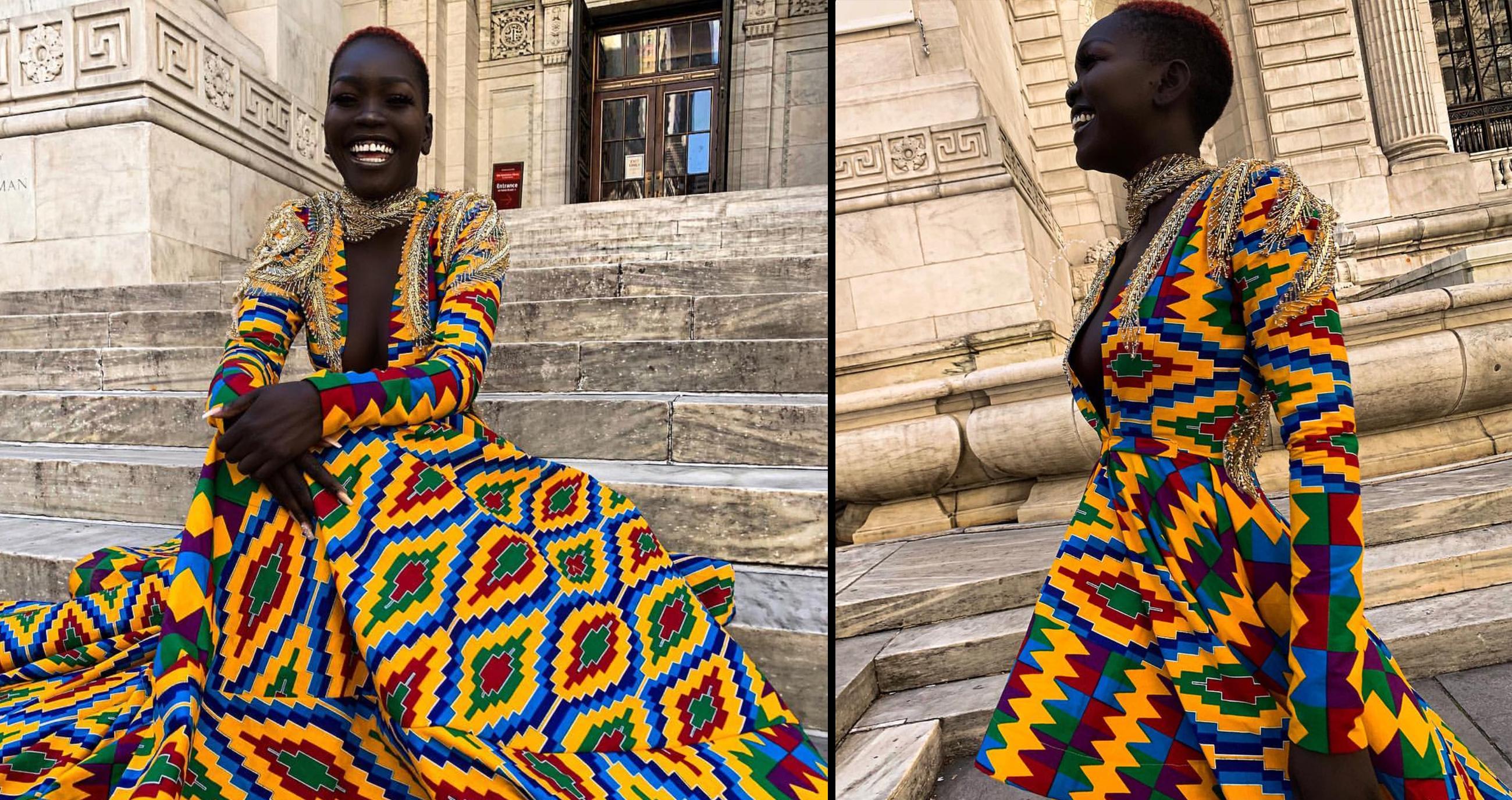 VIDEO: Dark Skinned Beauty Nyakim Never Stunned Like This Before, Watch Her Strike Haute Poses In Mimmy Yeboah Fashion