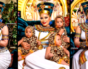 #HOTSHOTS: Nigeria's FFK's Wife Precious Breaks The Net Whilst Stunning With Her Triplets In Amazing Egyptian Style Shoot