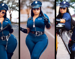 #HOTSHOTS: Moesha Boduong Is That One Cop This Is Here To Cause Traffic, Watch The Hot Cop Make An Arrest For Halloween
