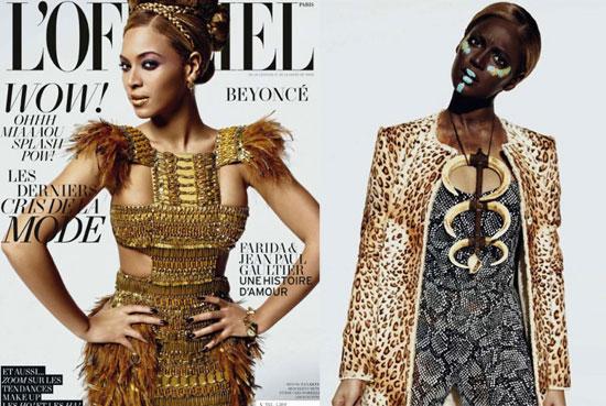 Beyonce Black Face paint and l'officiel shoot